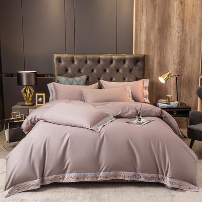 2021新款全棉喷气轻奢绣花款四件套 1.8m床单款四件套 紫藤色