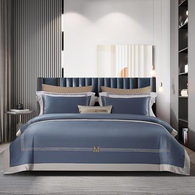 2021新款100支长绒棉《维诺》系列四件套 1.8m床单款四件套 维诺-海阔蓝