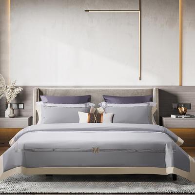 2021新款100支长绒棉《维诺》系列四件套 1.8m床单款四件套 维诺-水雾蓝