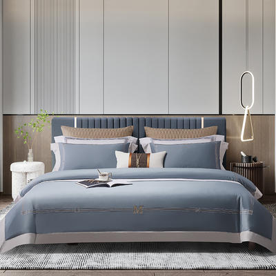 2021新款100支长绒棉《维诺》系列四件套 1.5m床单款四件套 维诺-蔚空蓝