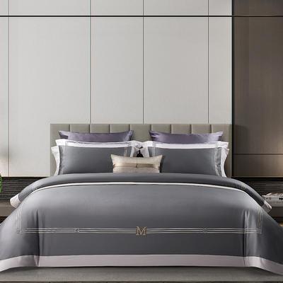 2021新款100支长绒棉《维诺》系列四件套 1.8m床单款四件套 维诺-庄重灰