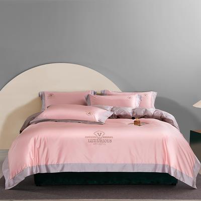 2021新款100支长绒棉绣花四件套 1.8m床单款四件套 藕粉+月紫