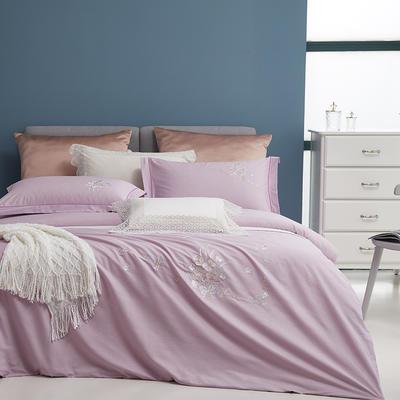 2021新款60支一诺倾城长绒棉喷气绣花四件套 1.8m床单款四件套 一诺倾城-水晶紫