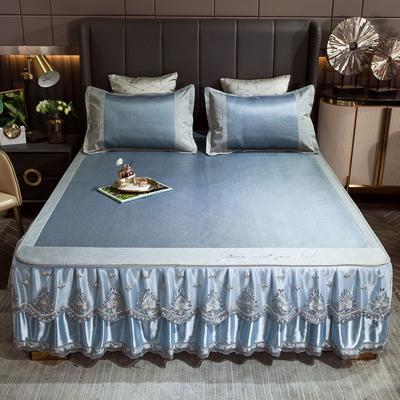 2021新款床裙款冰藤席套件 1.8*2m三件套 倾城-蓝