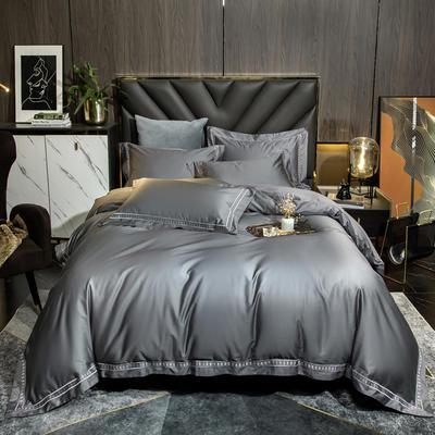 2021新款100支长绒棉刺绣四件套—艾伦 1.8m床单款四件套 艾伦-伯爵灰