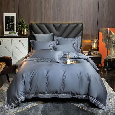 2021新款100支长绒棉刺绣四件套—艾伦 1.8m床单款四件套 艾伦-幻影蓝