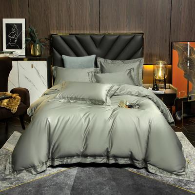 2021新款100支长绒棉刺绣四件套—艾伦 1.8m床单款四件套 艾伦-抹茶绿