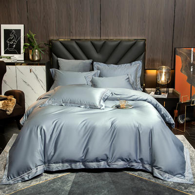 2021新款100支长绒棉刺绣四件套—艾伦 1.5m床单款四件套 艾伦-天空蓝