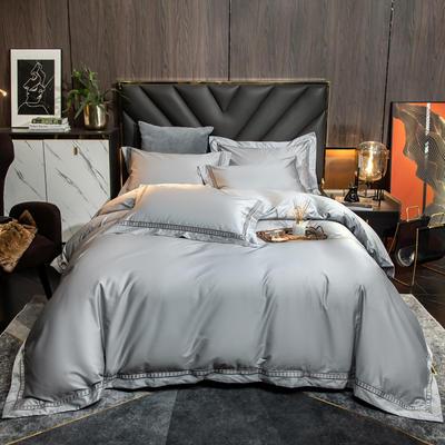 2021新款100支长绒棉刺绣四件套—艾伦 1.8m床单款四件套 艾伦-银光灰