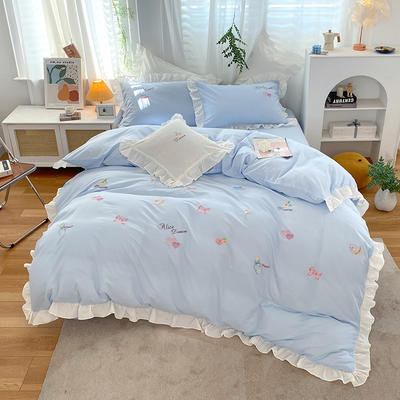 2021新款韩版全棉水洗棉刺绣四件套 1.8m床单款四件套 梦境