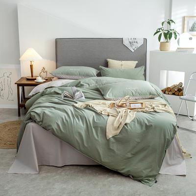 2021新款A类全棉水洗棉双拼四件套 1.5m床单款四件套 艾雅绿+亚麻灰