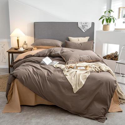 2021新款A类全棉水洗棉双拼四件套 1.5m床单款四件套 魅酱紫+香槟橙