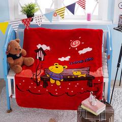 高端双层云童毯 1.0*1.3米 呆呆熊-红