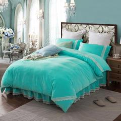 【坦客毯业】宝宝绒床裙四件套 被套2.0m/床裙1.5m 祖母绿