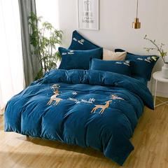 宝宝绒毛巾绣四件套 2.0m(6.6英尺)床 冰雪麋鹿