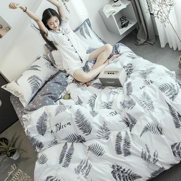 宜米家居2018秋冬新款V棉磨毛系列---V棉磨毛印花款四件套 1.8m(6英尺)床 时光