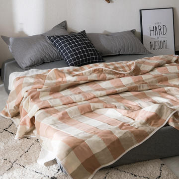 朴尔新款六双层纱布毛巾被全棉纯棉纱布夏被空调被夏凉被毛毯被子提花盖毯