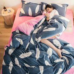 朴尔家纺2018新款水晶绒拼法莱绒四件套 1.5m床笠款 艺术构想兰
