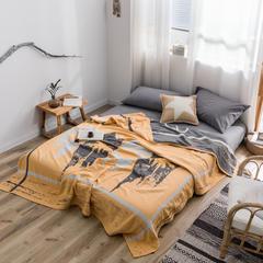 朴尔毛巾被2019大版花系列全棉毛巾被 150x200cm 城市之光-柠檬黄