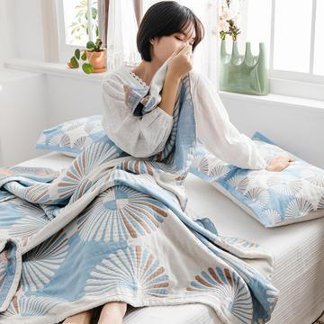 2020新款波西米亚粉四层纱布毛巾被水洗纯棉全棉毛巾毯子单人双人空调被盖毯夏被床单