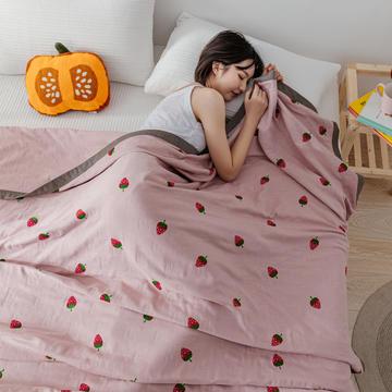 2020新款植物印染全棉纱布毛巾被单人全棉暖气被空调被可机洗床单双人纯棉休闲毯盖毯夏被床单