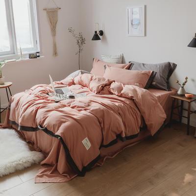 水洗棉系列四件套(可可) 1.5m(5英尺)床 可可豆沙