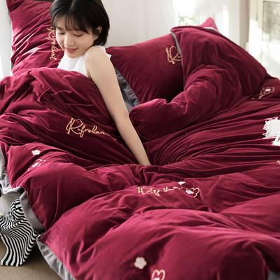 2019新款戎宽边绣花四件套 1.5m-1.8m床单款四件套 吉米红
