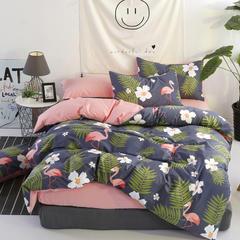 简宜2017年新款北欧纯棉小清新四件套双人床上用品(总) 1.2m(4英尺)床 绿洲家园