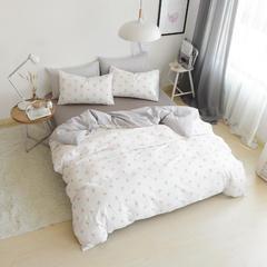 简宜2017年新款北欧纯棉小清新四件套双人床上用品(总) 1.2m(4英尺)床 四月芳菲