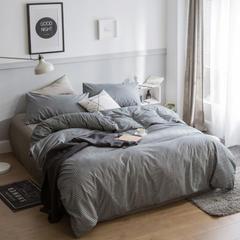 简宜家居  北欧简约条纹格子纯棉四件套单人双人床品 1.2m(4英尺)床 小灰格
