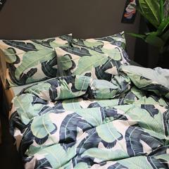 简宜家居 6月ins小清新系列纯棉全棉田园风床单床笠四件套  青叶 1.0m(3.3英尺)床 青叶