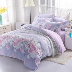 诚群家纺  芦荟棉化纤四件套 1.2m 爱的花海-紫