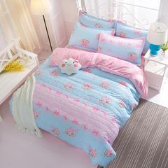 芦荟棉夹棉加厚床上用品四件套 南通床品批发 一件代发 1.5m 清新花语-夹棉