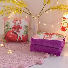 水晶绒3D超柔夹棉抱枕被环保印花汽车靠垫被沙发靠垫空调被 40X40cm展开110*150(±5 草莓公主