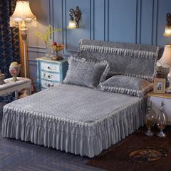 2017新品床裙 法莱绒夹棉绗绣床裙 150*200 灰色