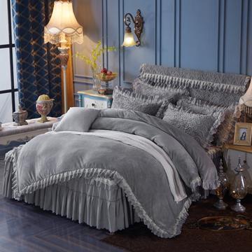 法兰绒加厚床裙式四件套 灰色 床头罩1.8床裙式 灰色