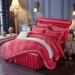 法兰绒加厚床裙式四件套 砖红 枕套夹棉(48*74cm)对 砖红
