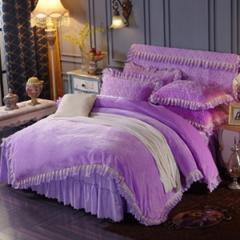 法兰绒加厚床裙式四件套 紫色 枕套夹棉(48*74cm)/对 紫色