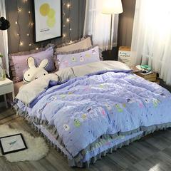 水洗棉水晶绒四件套 欢乐紫星 标准(1.5m-1.8m床) 欢乐紫星