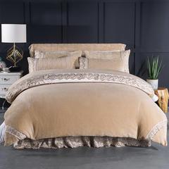 2018新款-法莱绒床裙五件套-名门之绣 180*100cm(单品床头罩) 驼色