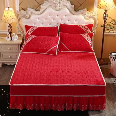2019新款水晶绒夹棉床裙三件套 1.5m床 大红色