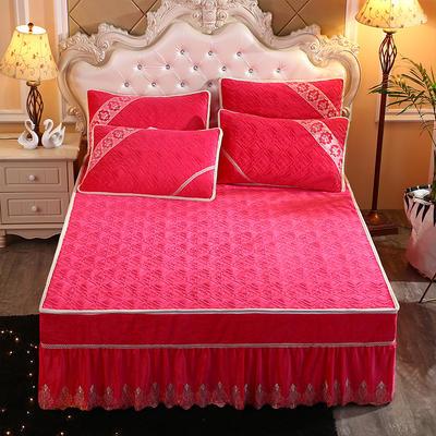 2019新款水晶绒夹棉床裙三件套 1.5m床 玫红色