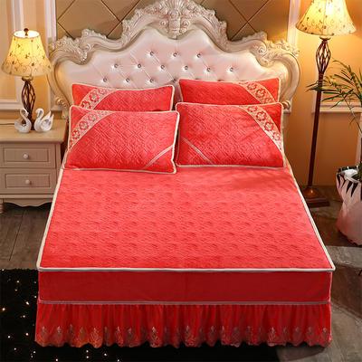 2019新款水晶绒夹棉床裙三件套 1.5m床 砖红色
