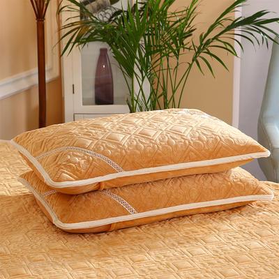 2019新款水晶绒夹棉枕套 48cmx74cm/对 金驼色