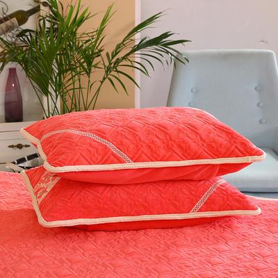 2019新款水晶绒夹棉枕套 48cmx74cm/对 砖红色