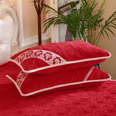 2019新款水晶绒夹棉枕套 48cmx74cm/对 大红色