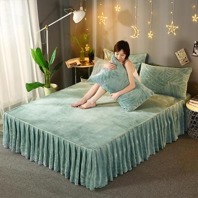 2019新款法兰绒单床裙-热带雨林 枕套/对 果绿