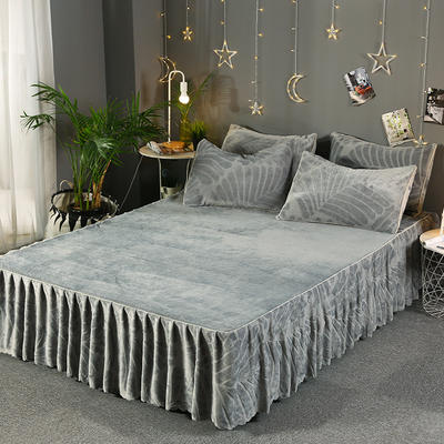 2019新款法兰绒单床裙-热带雨林 枕套/对 灰色