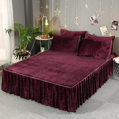 2019新款法兰绒单床裙-热带雨林 枕套/对 酒红