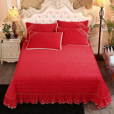 2019新款水晶绒微风采莲夹棉床盖三件套 1.5m(5英尺)床 大红色